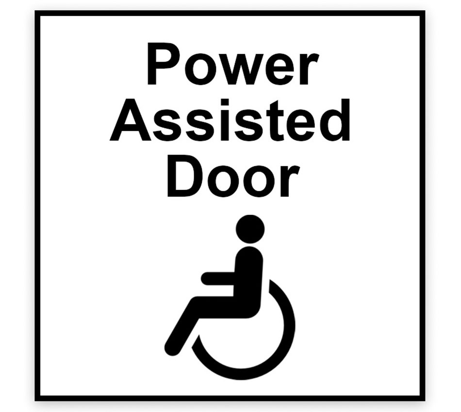 Power Assisted Door and Wheelchair Logo Signage